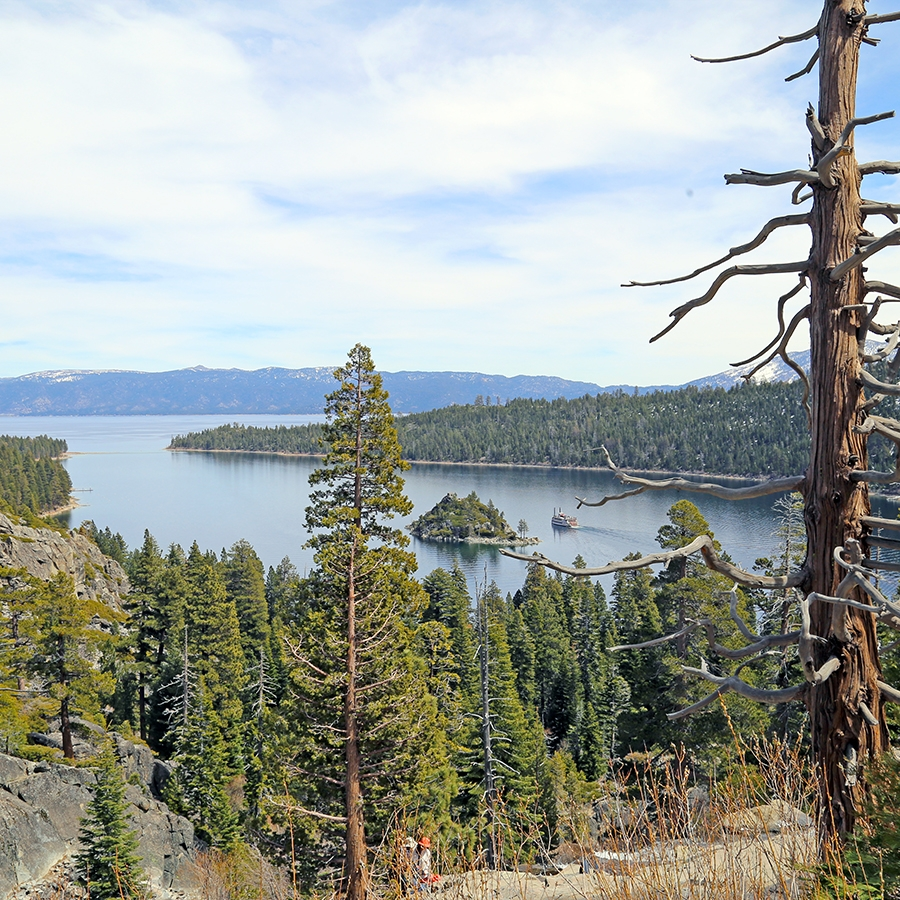 View of Emerald Bay from the road near Eagle Falls