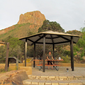 Cooking dinner at a covered picnic table by Chisos Mountains Lodge