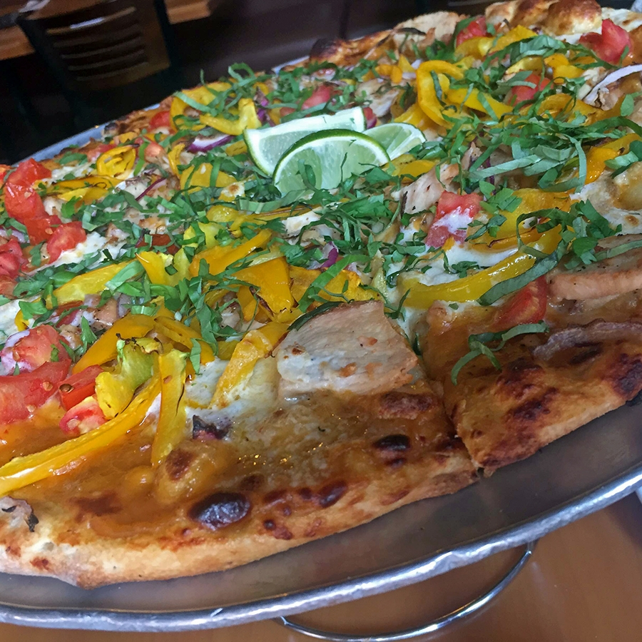 Thai curry chicken pizza