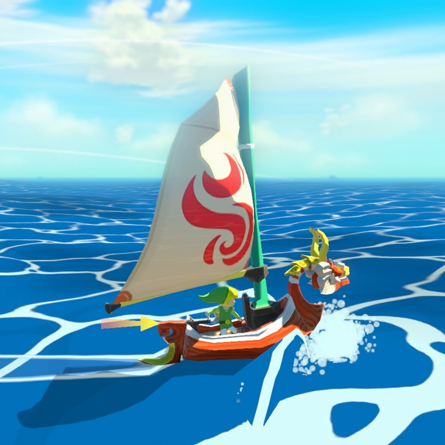 Link and his trusty sailboat