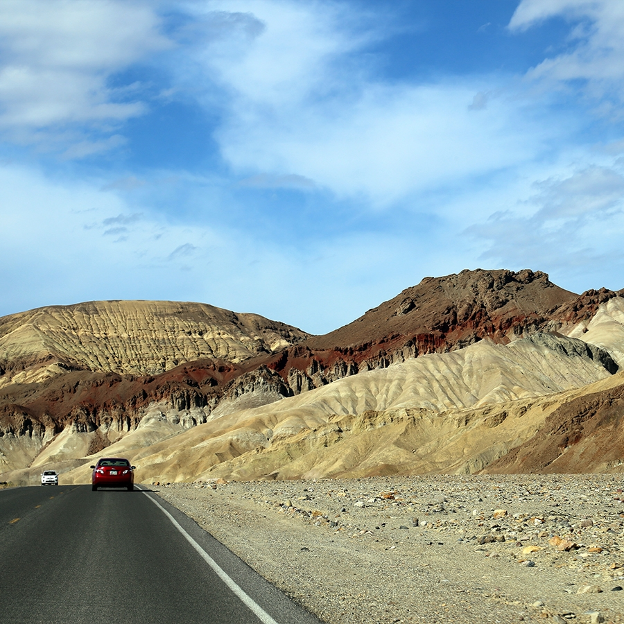 Driving towards Artists Palette, a section of particularly spectacular badlands