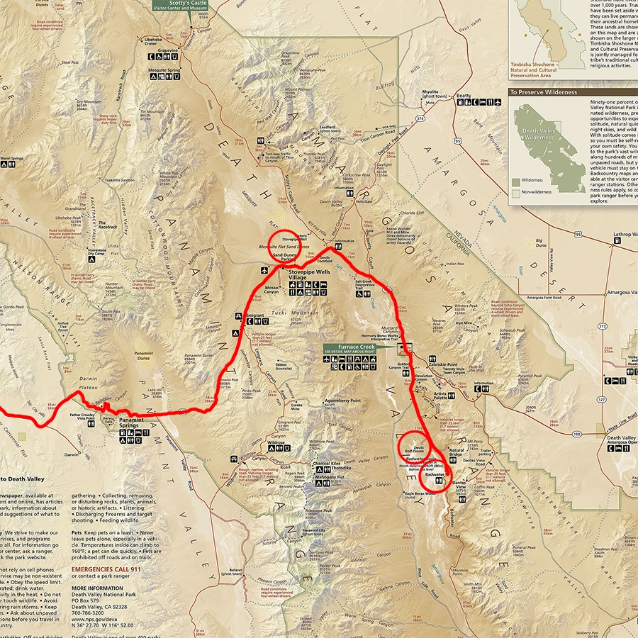 Our day trip route from Lone Pine