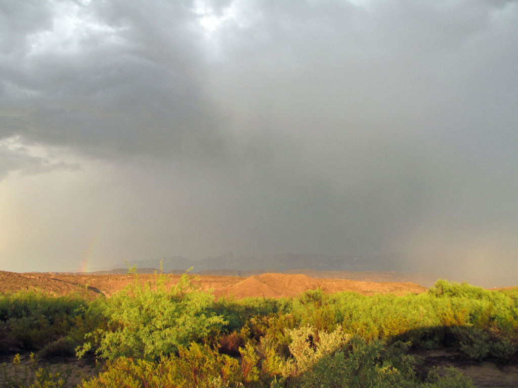 Storm and rainbow over the Rio Grande