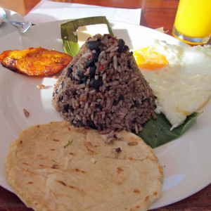 Traditional Costa Rican breakfast