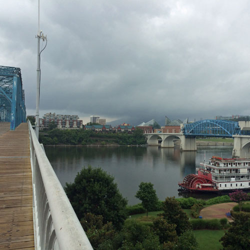 The Tennessee River as seen from Walnut Street Bridge in Downtown Chattanooga
