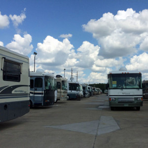 Used Class A Diesel motorhomes at PPL consignment lot in Houston, TX