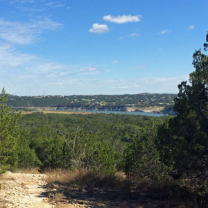 View of Lake Travis from trail