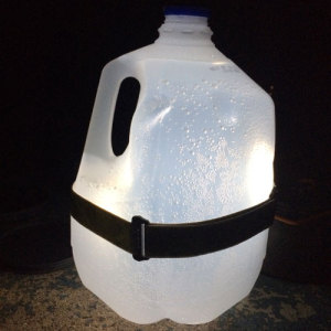 Pinterest victory! We used a headlamp to make a lantern.