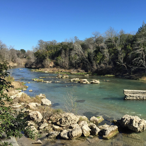The San Marcos River was a short walk from our front door