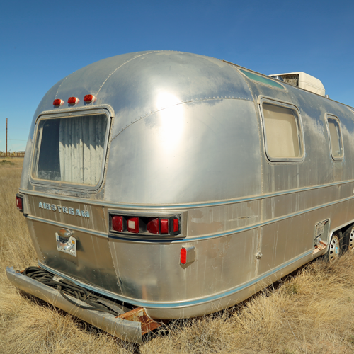 This trailer is a permanent fixture at the tiny RV park, but the Airstream count got as high as 4 at one point
