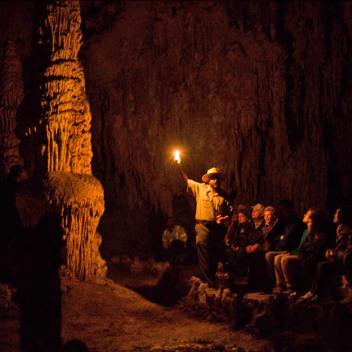 Ranger Eric telling the story of the Cavern's first champion... and the time he almost lost his way in the dark