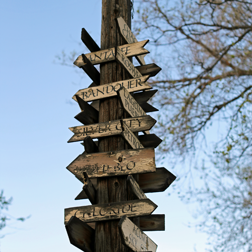 This directional sign points out nearby landmarks