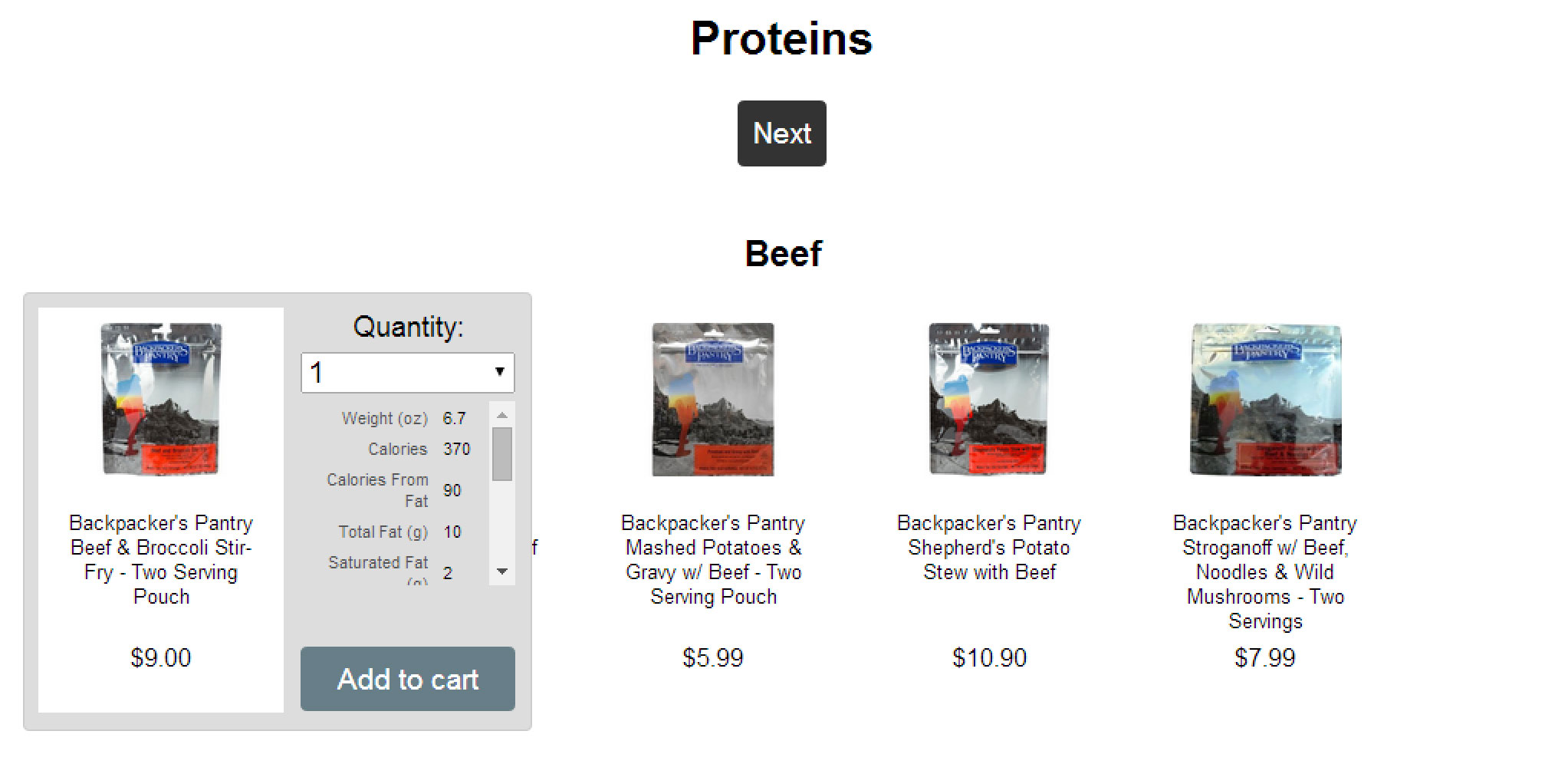 Meal Planner Section